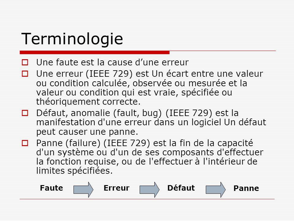Terminologie Une faute est la cause d'une erreur