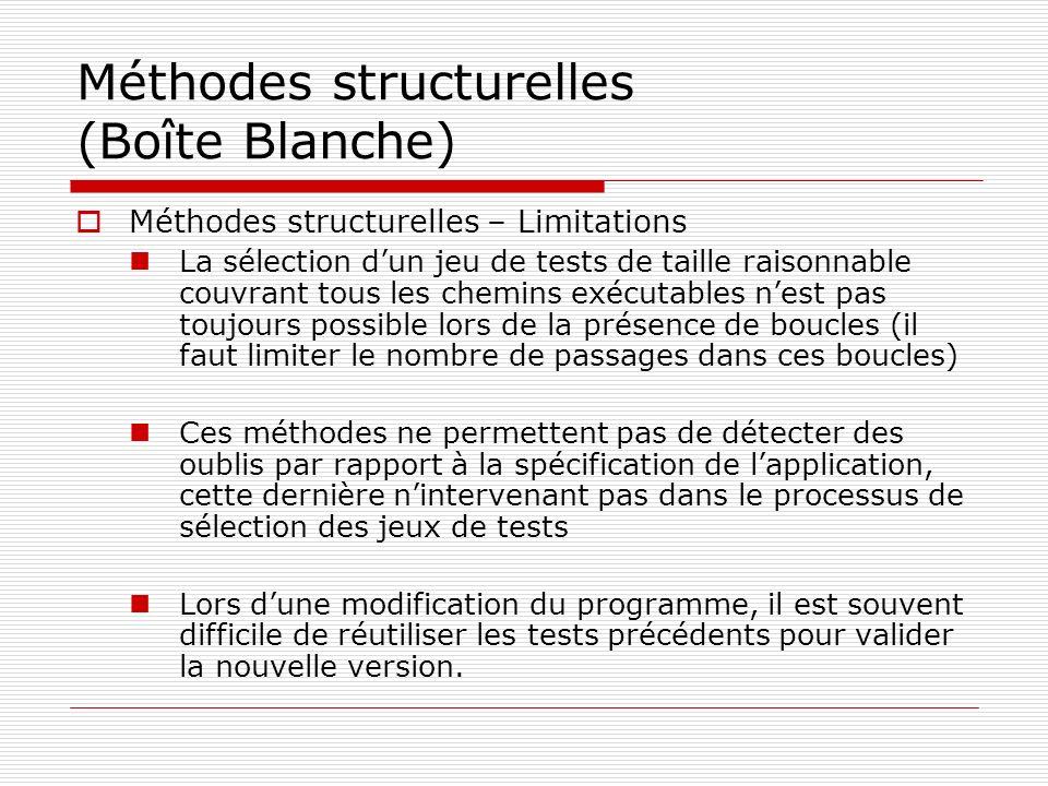 Méthodes structurelles (Boîte Blanche)