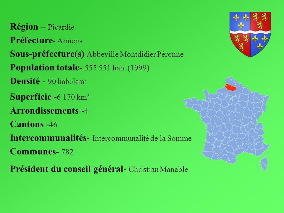 Région – Picardie Préfecture- Amiens. Sous-préfecture(s) Abbeville Montdidier Péronne. Population totale- 555 551 hab. (1999)