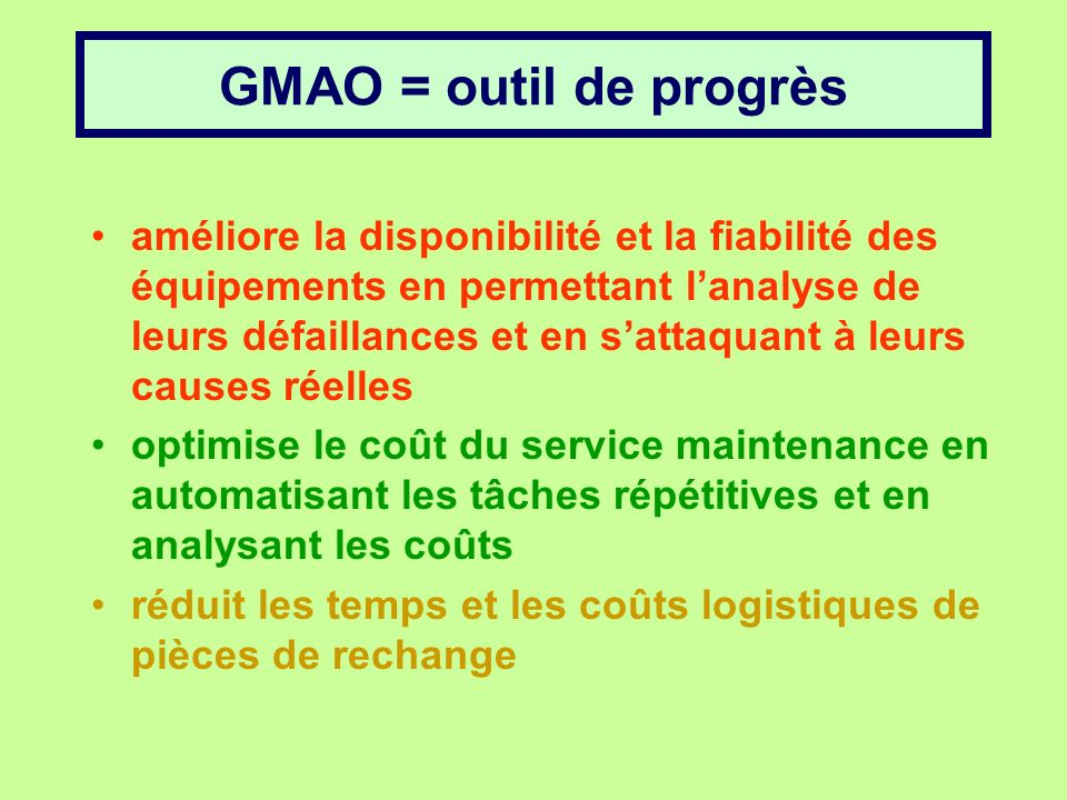gestion de la maintenance assist u00e9e par ordinateur