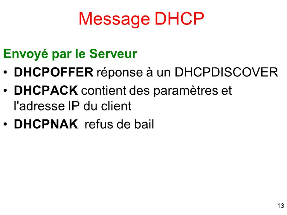 Message DHCP Envoyé par le Serveur DHCPOFFER réponse à un DHCPDISCOVER