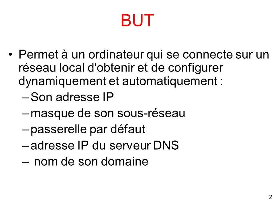 BUT Permet à un ordinateur qui se connecte sur un réseau local d obtenir et de configurer dynamiquement et automatiquement :