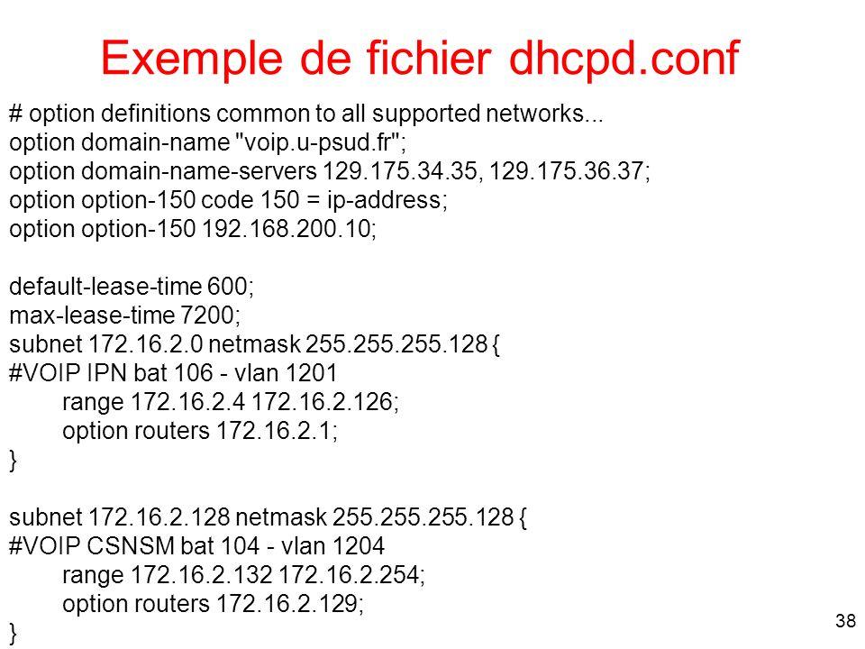 Exemple de fichier dhcpd.conf