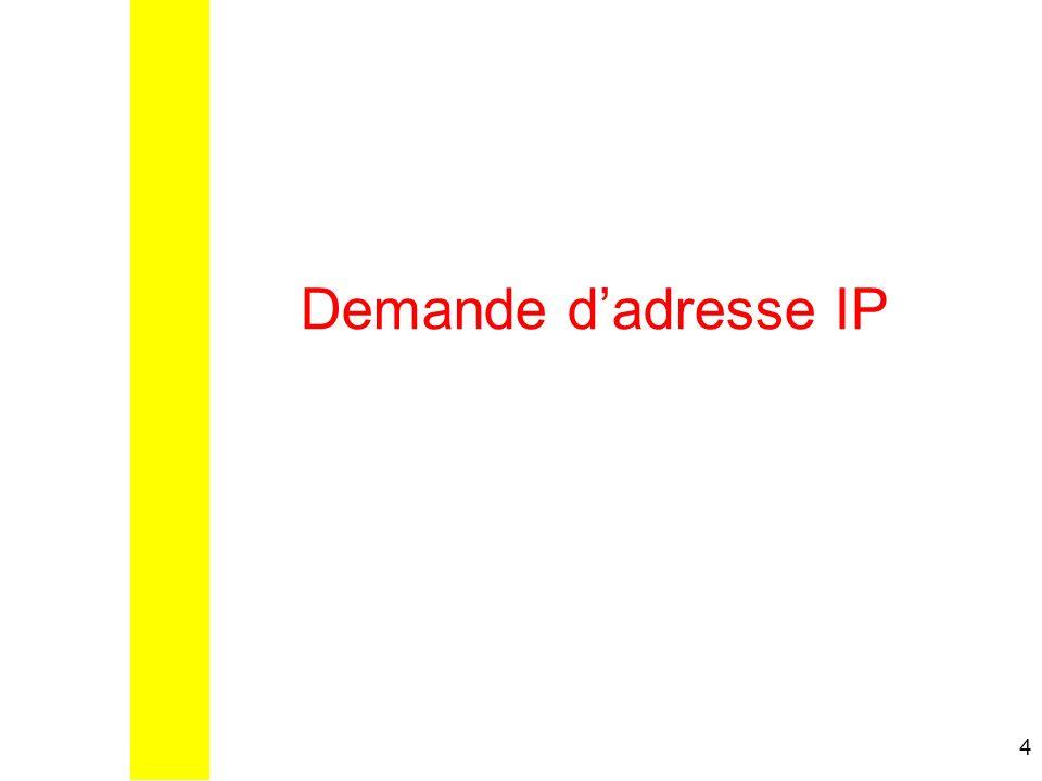 Demande d'adresse IP