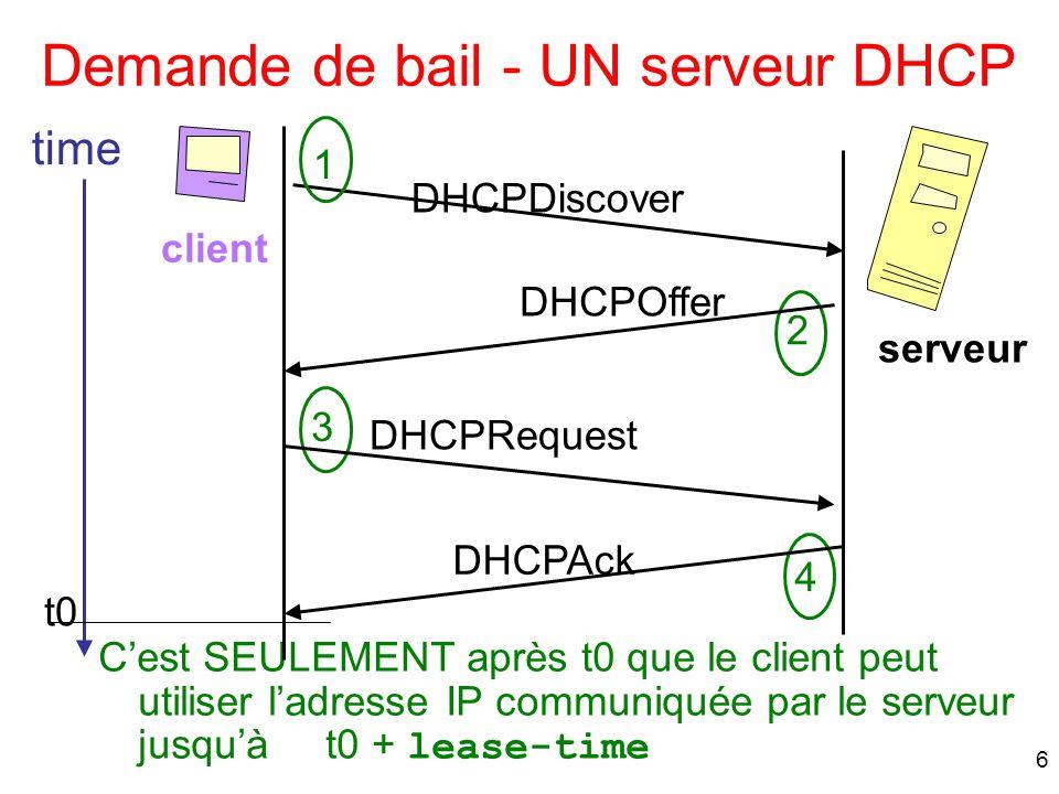 Demande de bail - UN serveur DHCP