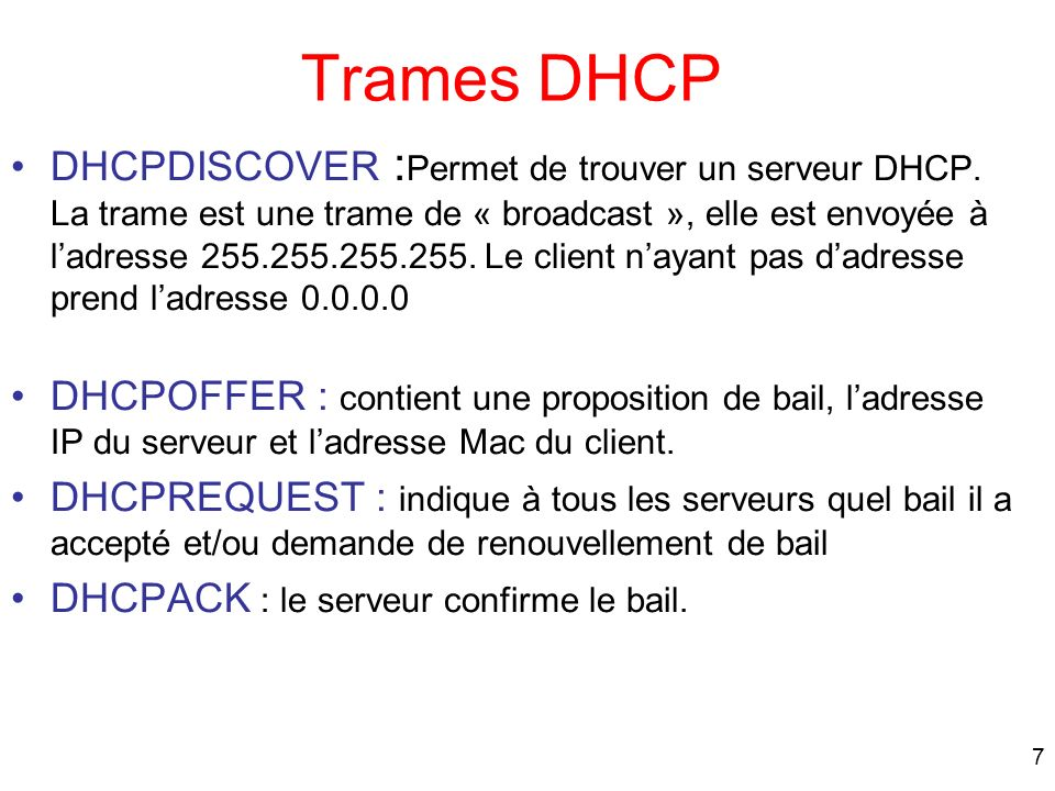 Trames DHCP