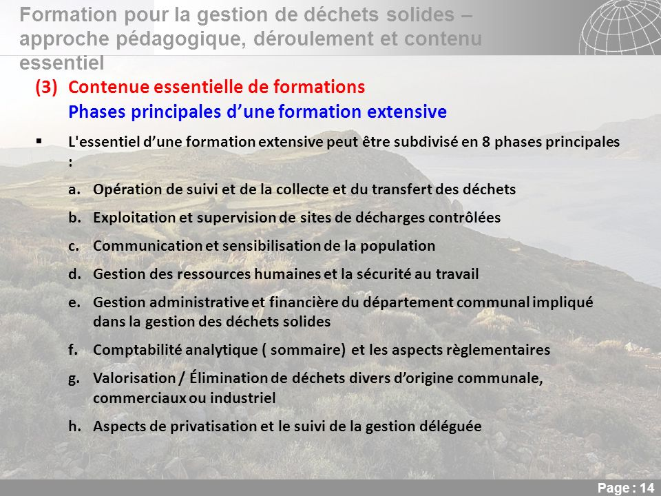 Contenue essentielle de formations