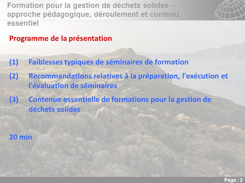 Programme de la présentation