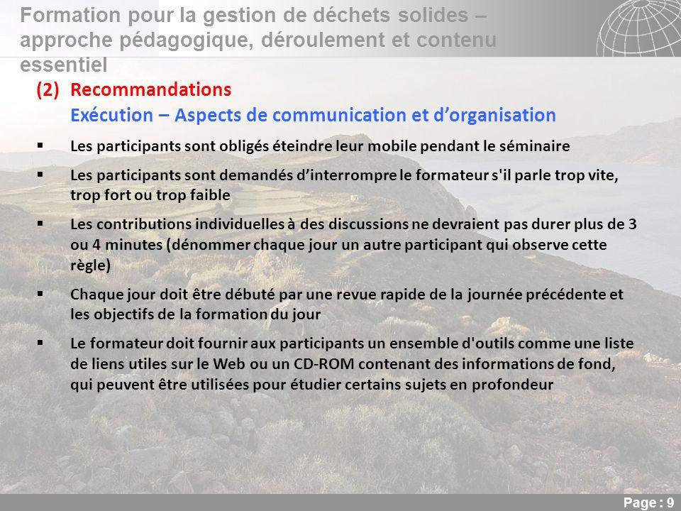 Exécution – Aspects de communication et d'organisation