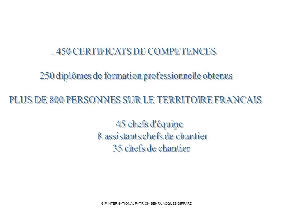 . 450 CERTIFICATS DE COMPETENCES