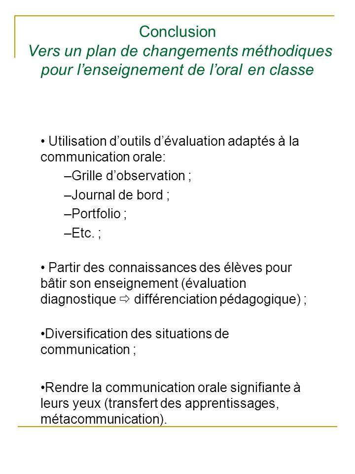 Conclusion Vers un plan de changements méthodiques pour l'enseignement de l'oral en classe