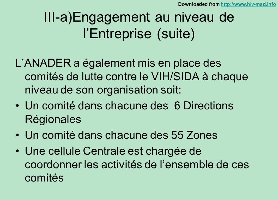 III-a)Engagement au niveau de l'Entreprise (suite)