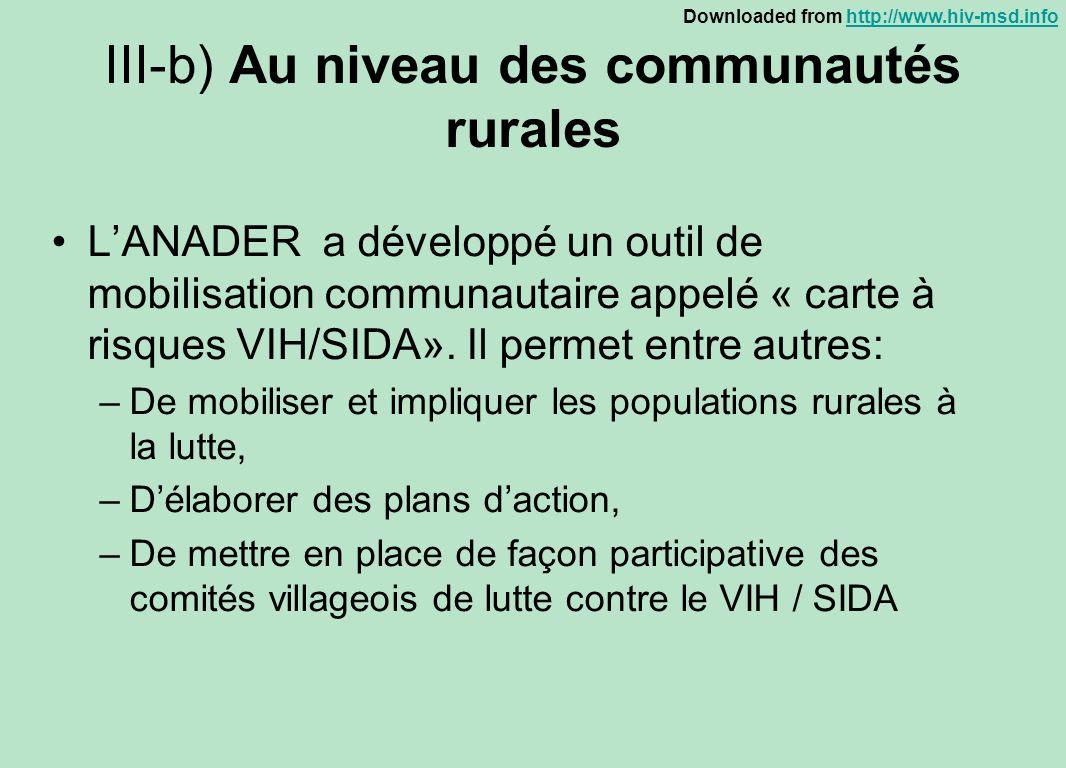 III-b) Au niveau des communautés rurales