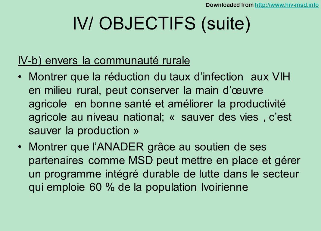 IV/ OBJECTIFS (suite) IV-b) envers la communauté rurale