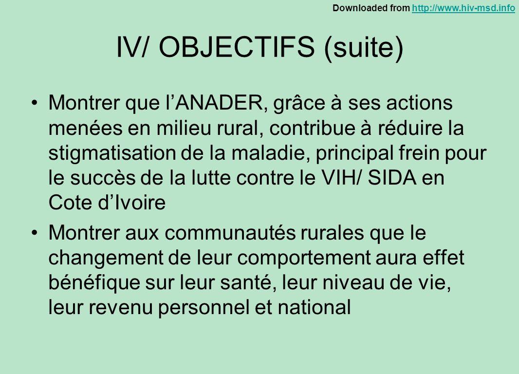IV/ OBJECTIFS (suite)