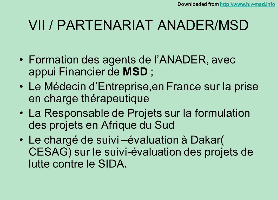 VII / PARTENARIAT ANADER/MSD
