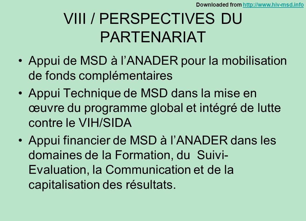 VIII / PERSPECTIVES DU PARTENARIAT