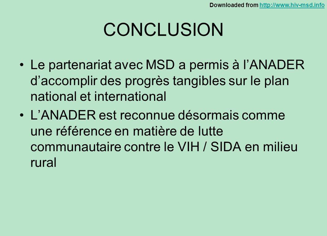 CONCLUSIONLe partenariat avec MSD a permis à l'ANADER d'accomplir des progrès tangibles sur le plan national et international.
