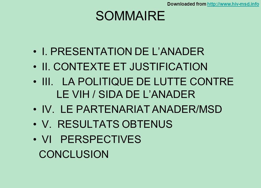 SOMMAIRE I. PRESENTATION DE L'ANADER II. CONTEXTE ET JUSTIFICATION