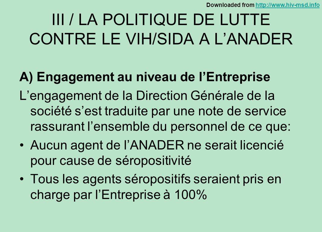 III / LA POLITIQUE DE LUTTE CONTRE LE VIH/SIDA A L'ANADER