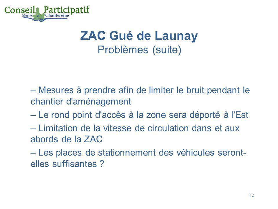 ZAC Gué de Launay Problèmes (suite)