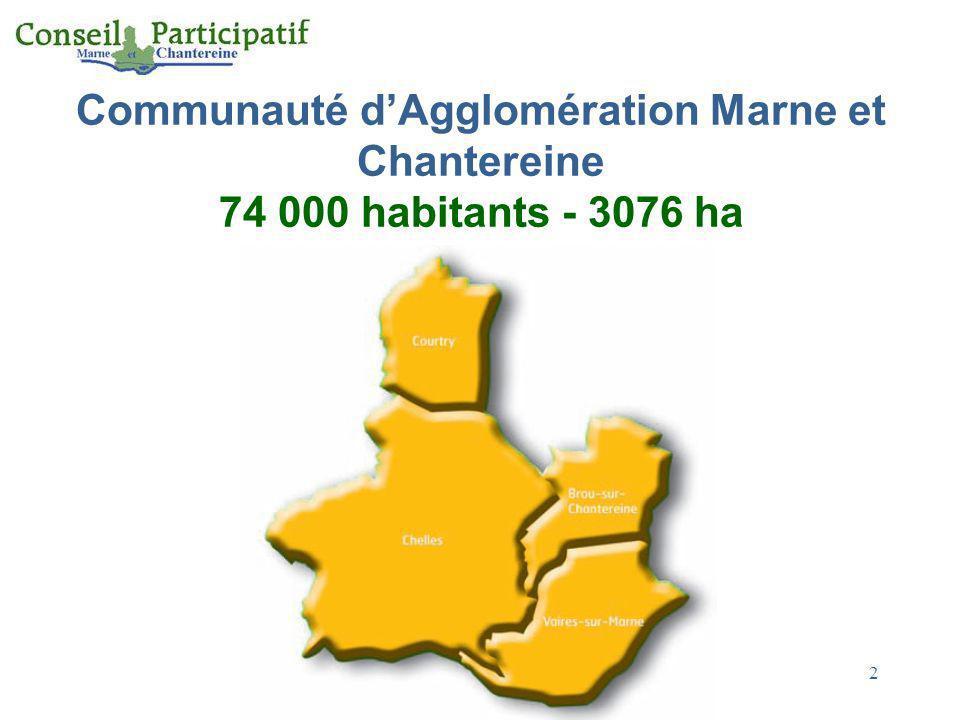 Communauté d'Agglomération Marne et Chantereine 74 000 habitants - 3076 ha