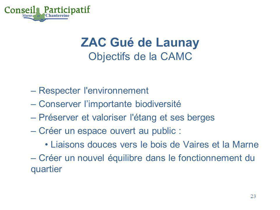 ZAC Gué de Launay Objectifs de la CAMC