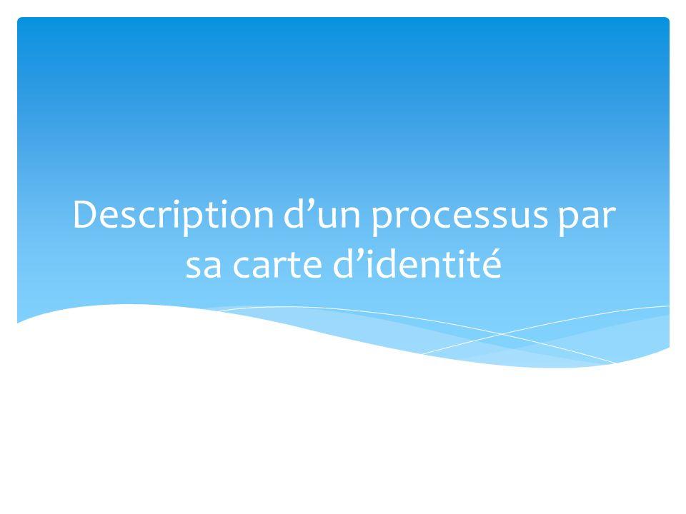 Description d'un processus par sa carte d'identité