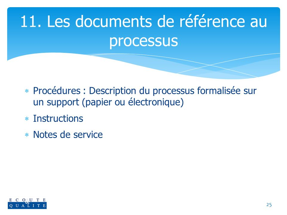 11. Les documents de référence au processus