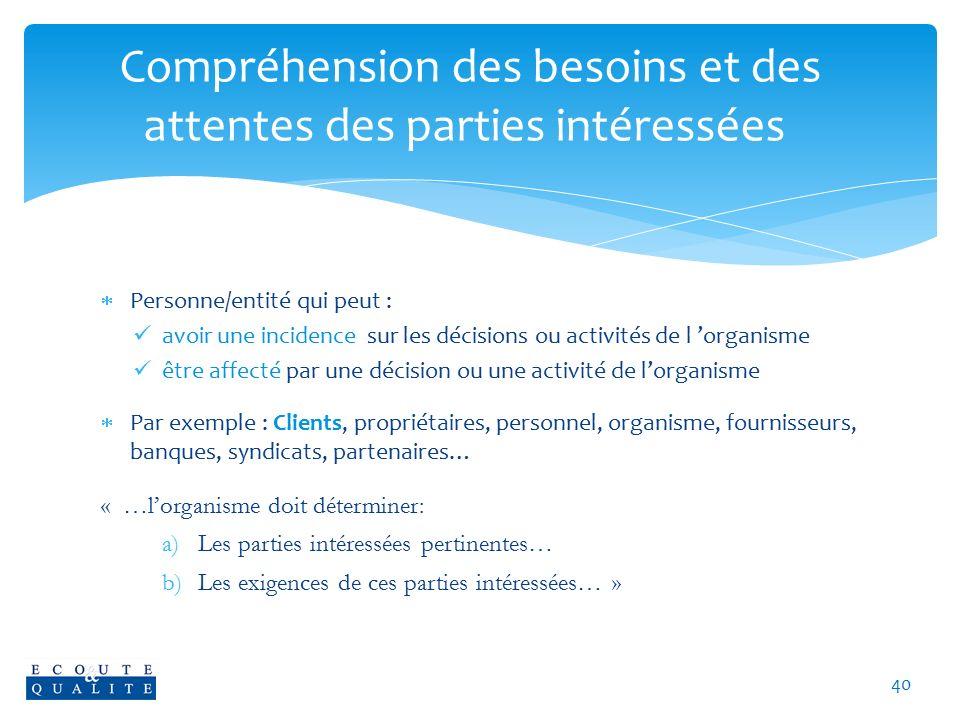 Compréhension des besoins et des attentes des parties intéressées