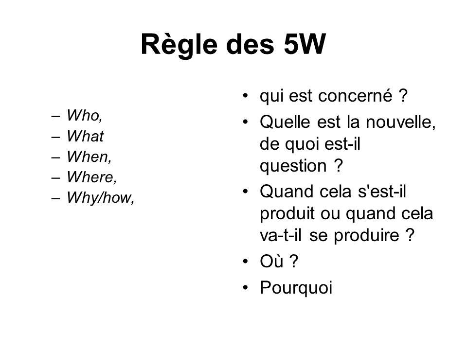 Règle des 5W qui est concerné