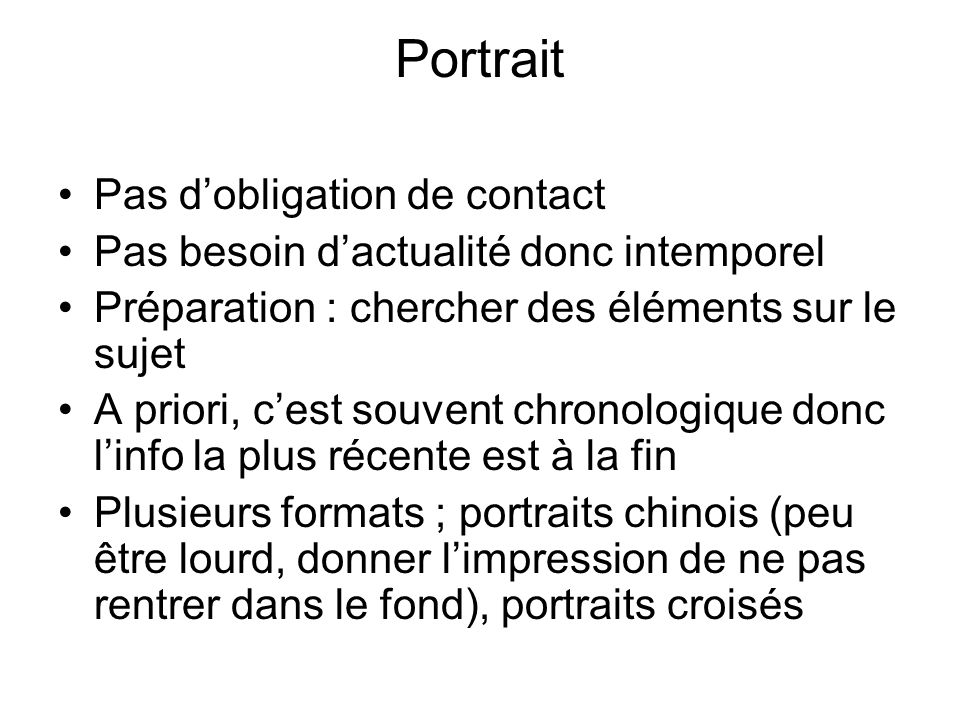 Portrait Pas d'obligation de contact
