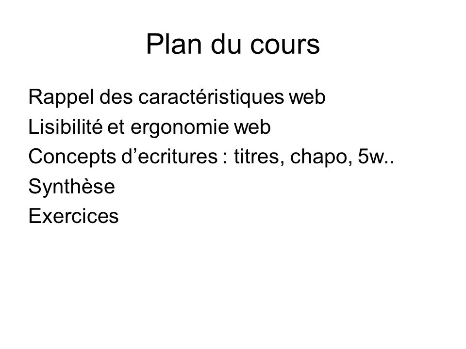 Plan du cours Rappel des caractéristiques web