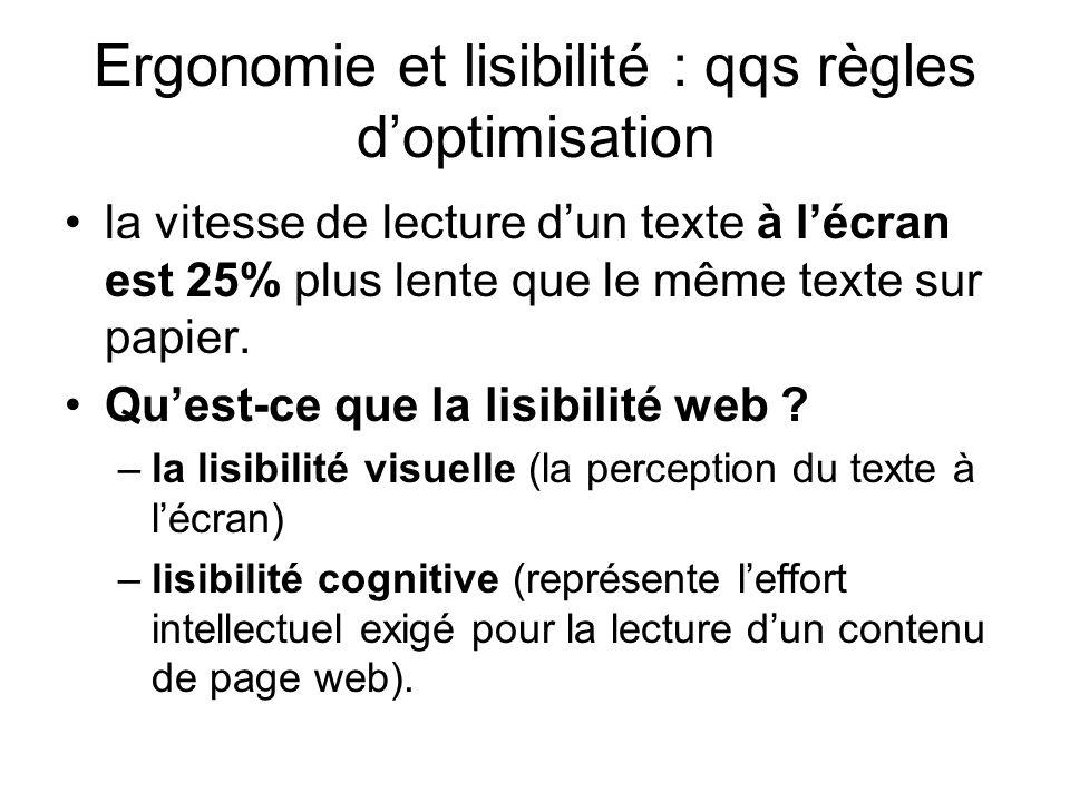 Ergonomie et lisibilité : qqs règles d'optimisation