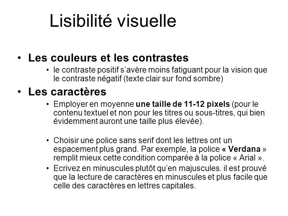 Lisibilité visuelle Les couleurs et les contrastes Les caractères