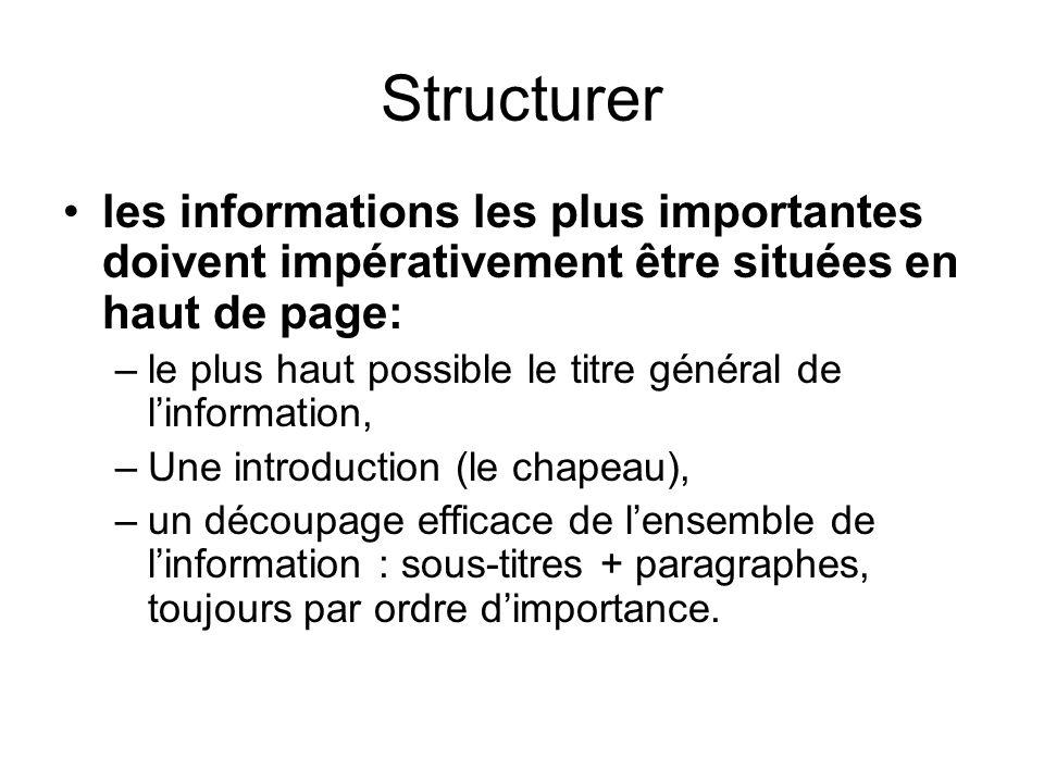 Structurer les informations les plus importantes doivent impérativement être situées en haut de page: