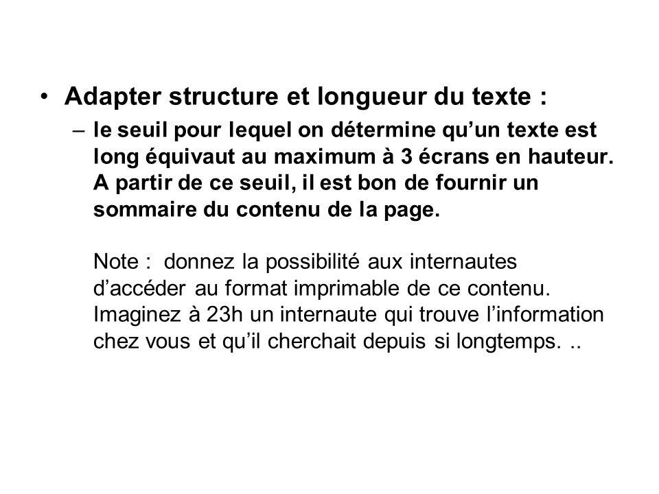Adapter structure et longueur du texte :