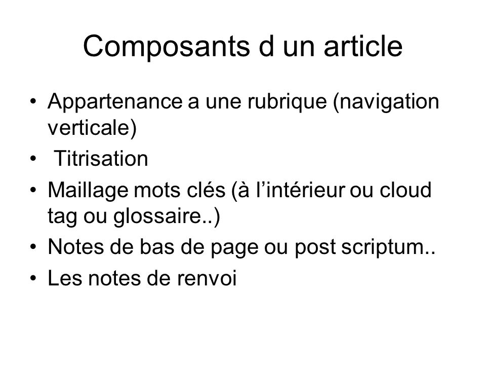 Composants d un article