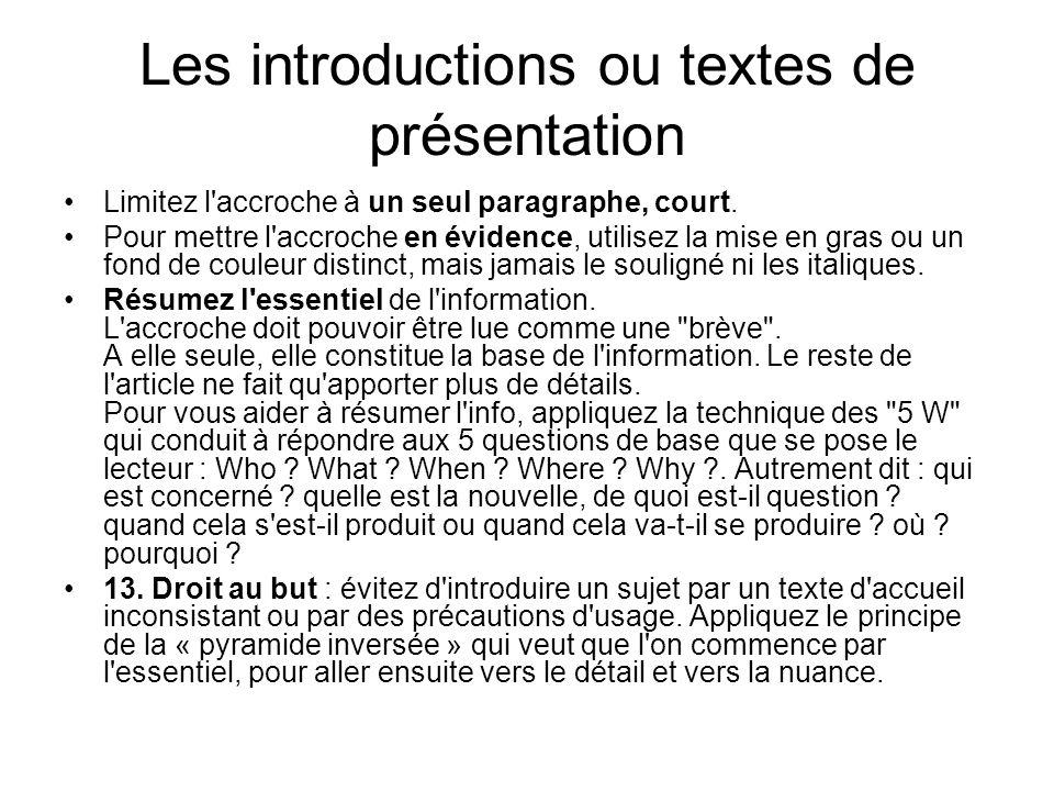 Les introductions ou textes de présentation