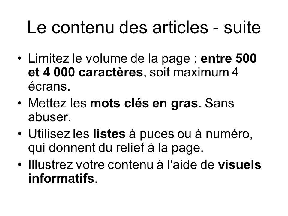 Le contenu des articles - suite