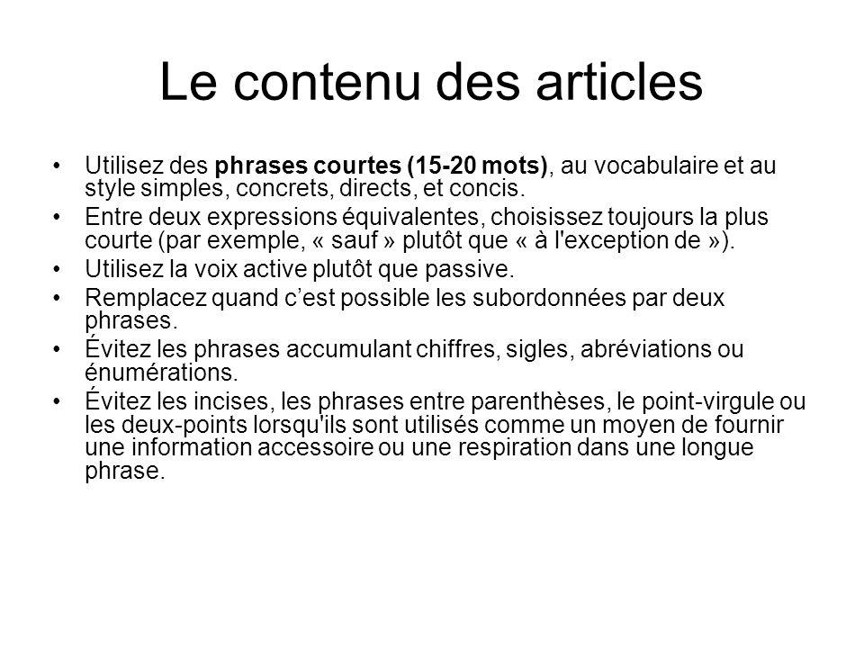 Le contenu des articles