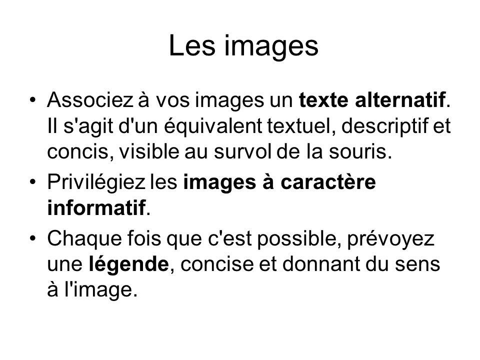 Les images Associez à vos images un texte alternatif. Il s agit d un équivalent textuel, descriptif et concis, visible au survol de la souris.