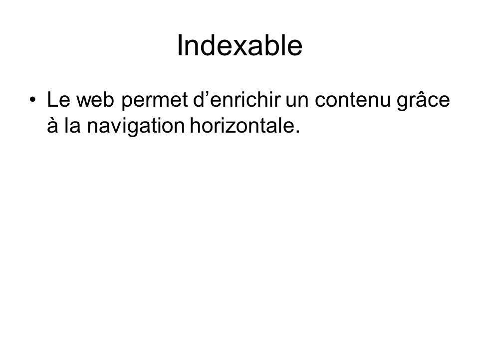 Indexable Le web permet d'enrichir un contenu grâce à la navigation horizontale.