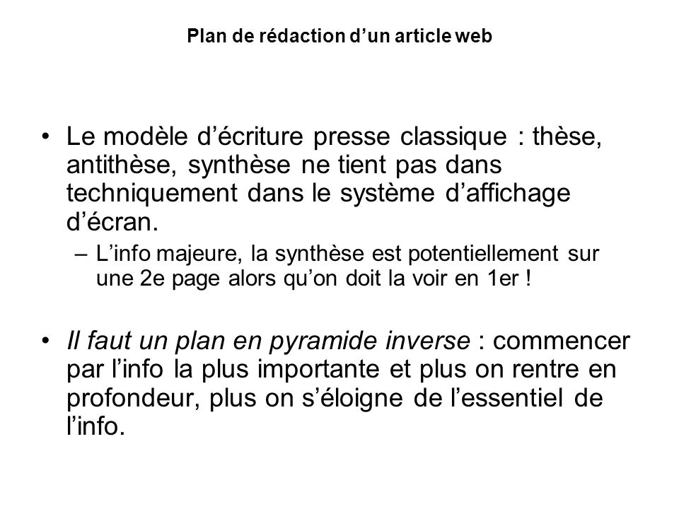 Plan de rédaction d'un article web