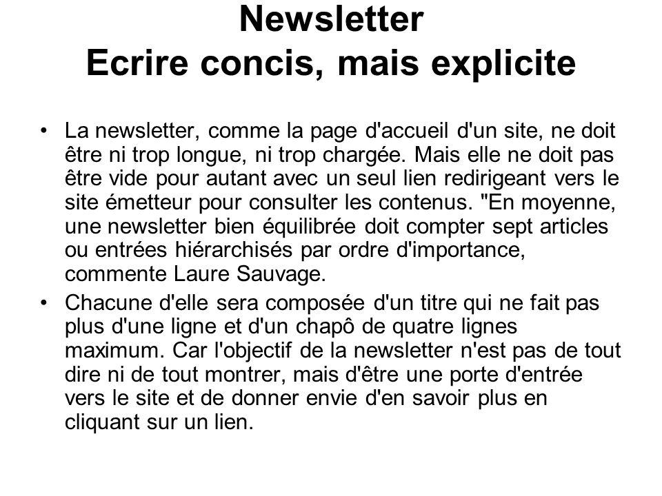 Newsletter Ecrire concis, mais explicite