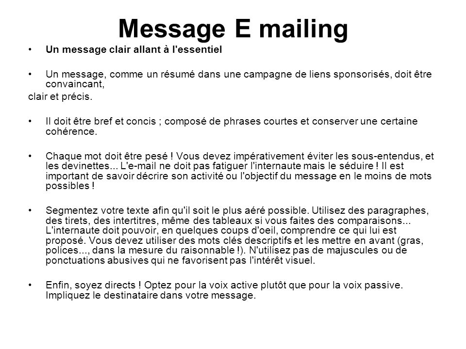 Message E mailing Un message clair allant à l essentiel