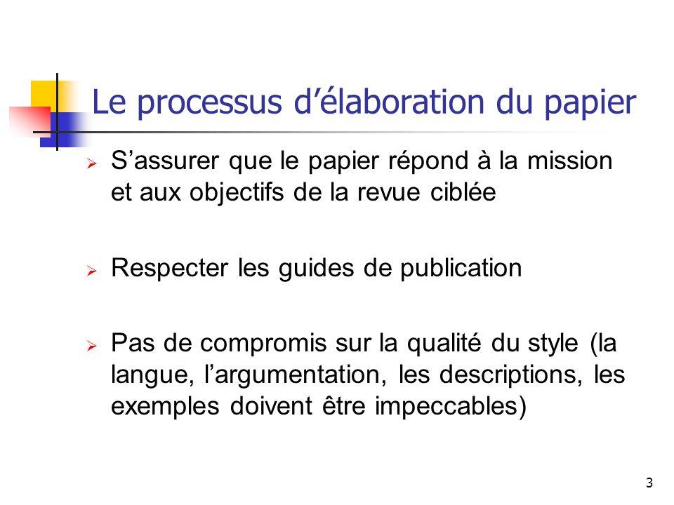 Le processus d'élaboration du papier