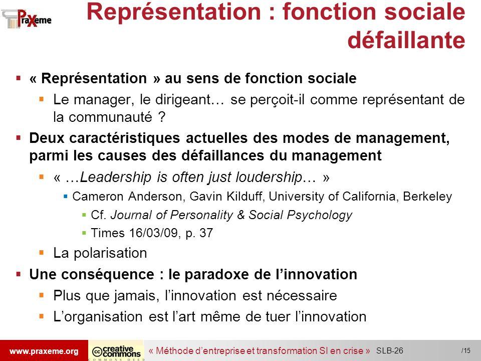 Représentation : fonction sociale défaillante