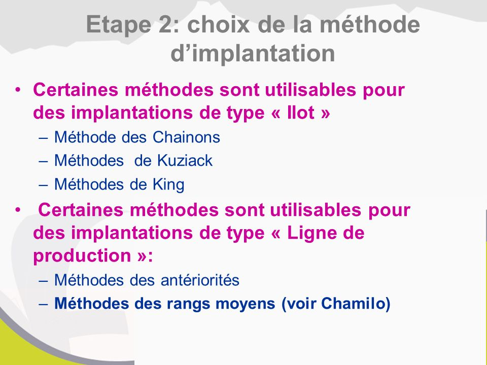 Etape 2: choix de la méthode d'implantation
