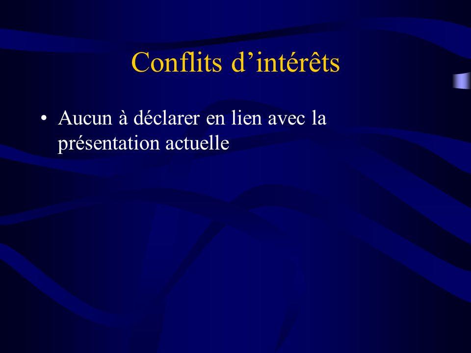 Conflits d'intérêts Aucun à déclarer en lien avec la présentation actuelle